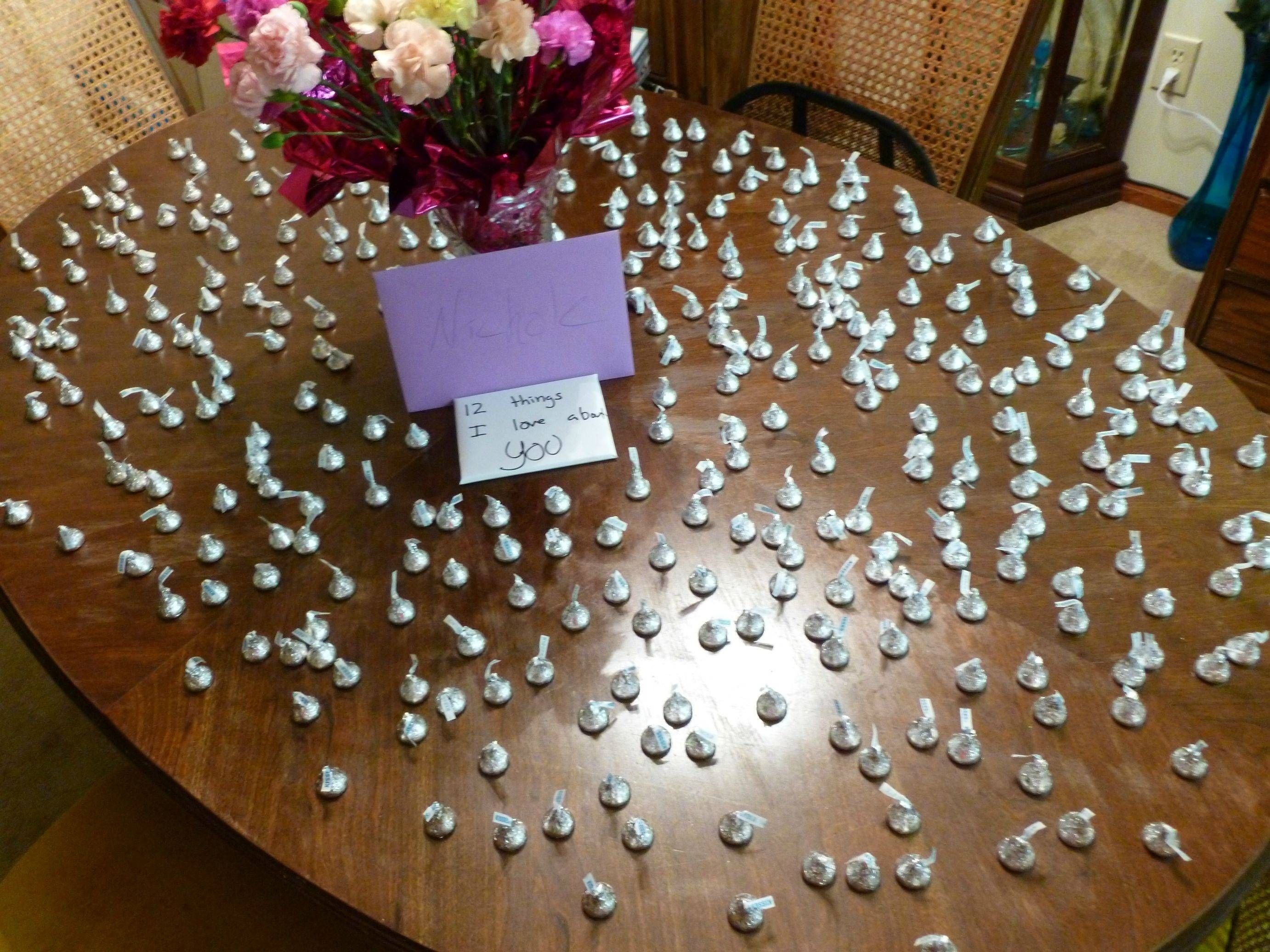 for my girlfriend and my 1 year, i bought her 365 kisses, 52 flowers