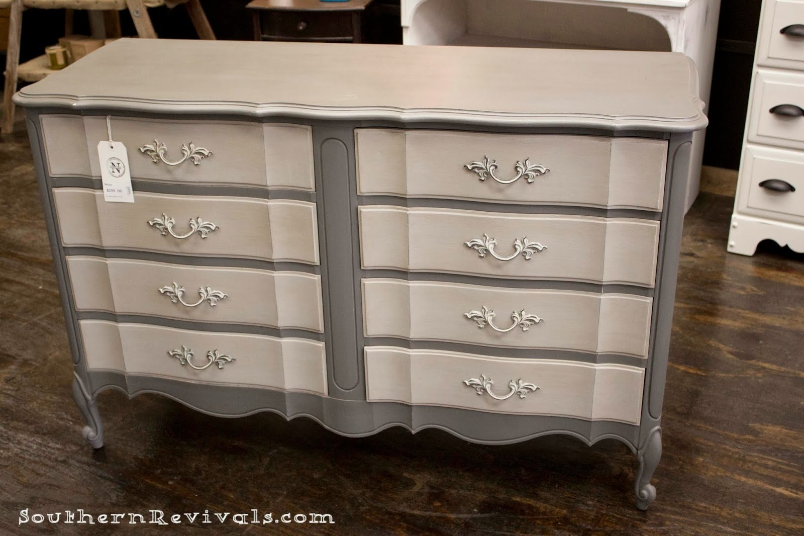 10 Famous Ideas For Painting A Dresser for the love of two grays two toned gray dresser southern revivals 2020
