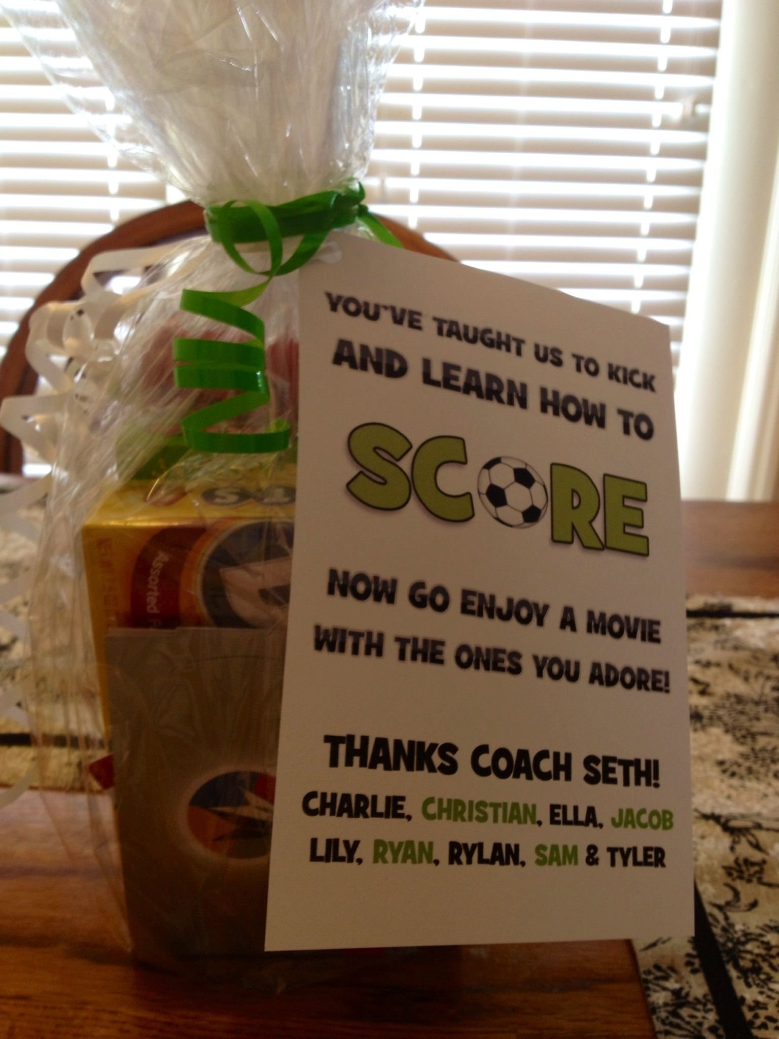 found ideas on pinterest and made for our soccer coach! make card on