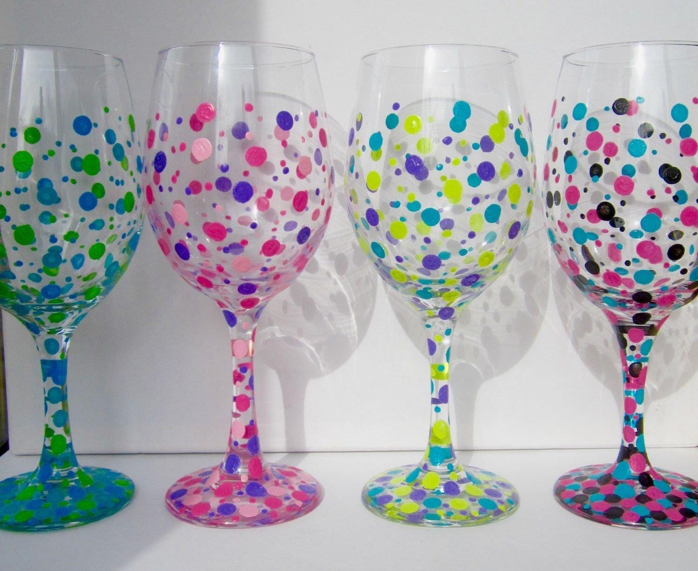 10 Fabulous Hand Painted Wine Glasses Ideas four hand painted wine glasses polka dot wine glasses custom wine 2020