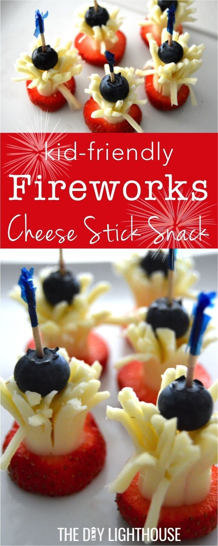 fourth of july fireworks cheese stick snack | fun fruit, snacks
