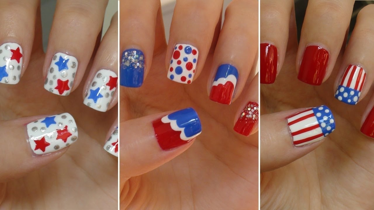 10 Awesome Fourth Of July Nail Art Ideas fourth of july nails e29886 three easy designs youtube 2