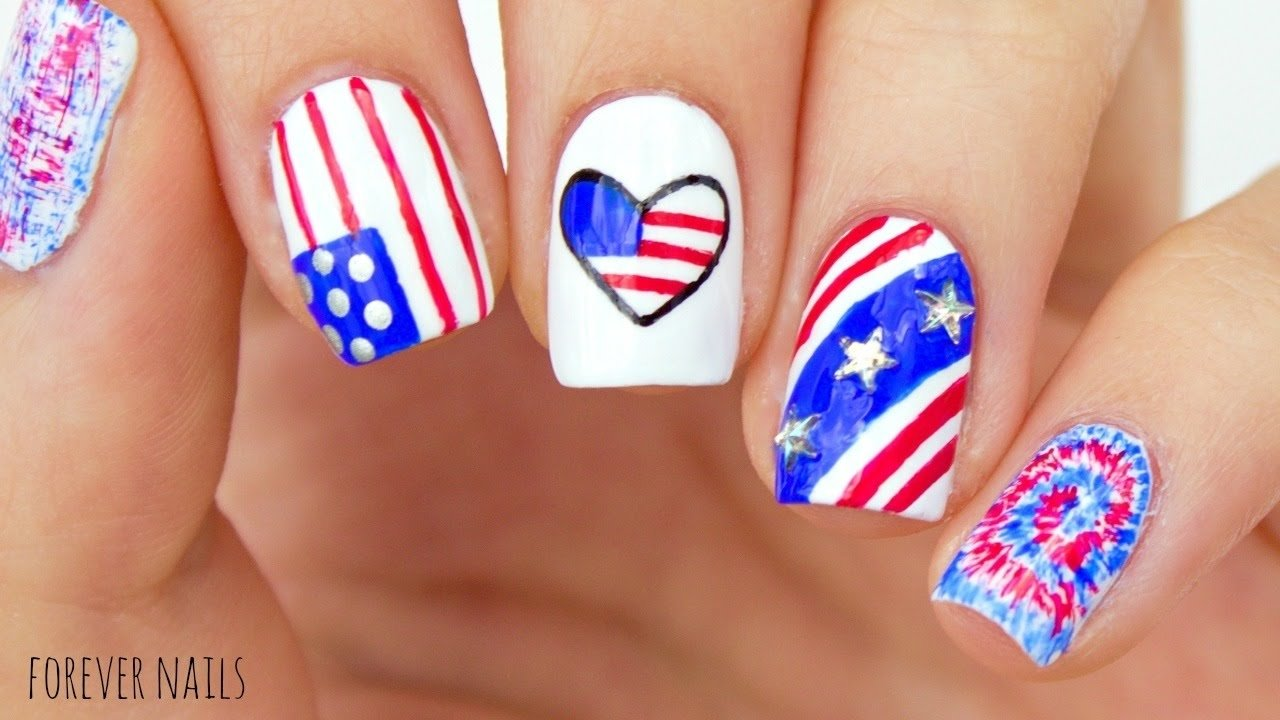10 Awesome Fourth Of July Nail Art Ideas fourth of july nails easy 4th of july nail designs youtube 2