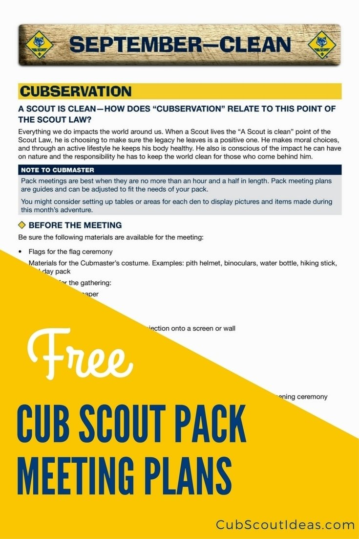 free cub scout pack meeting plans save you time | cub scout ideas