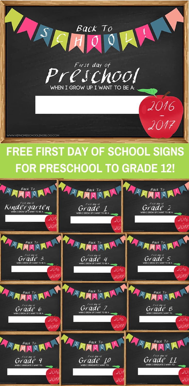 10 Fabulous First Day Of Preschool Ideas free first day of school signs homeschool school and activities