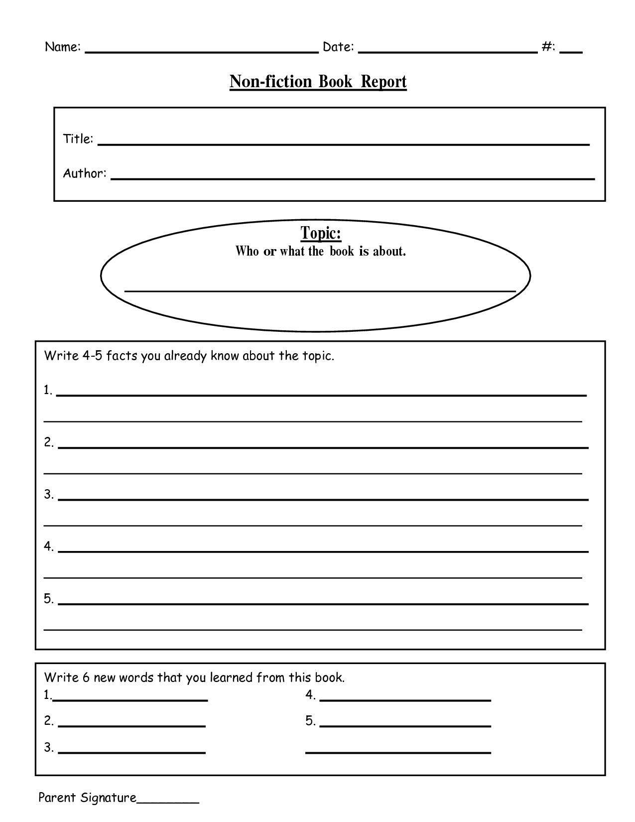 10 Elegant Middle School Book Report Ideas free printable book report templates non fiction book report doc 2 2021