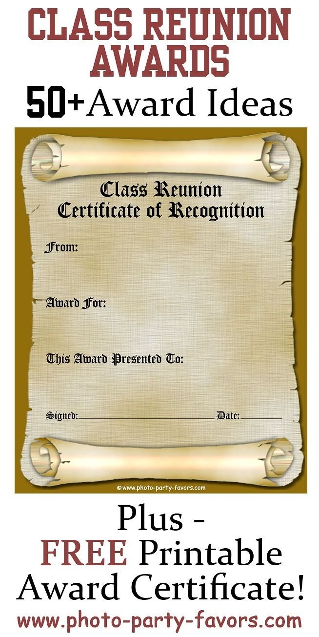 10 Unique Class Reunion Ideas 50 Years free printable class reunion award certificate with more than 50 2020