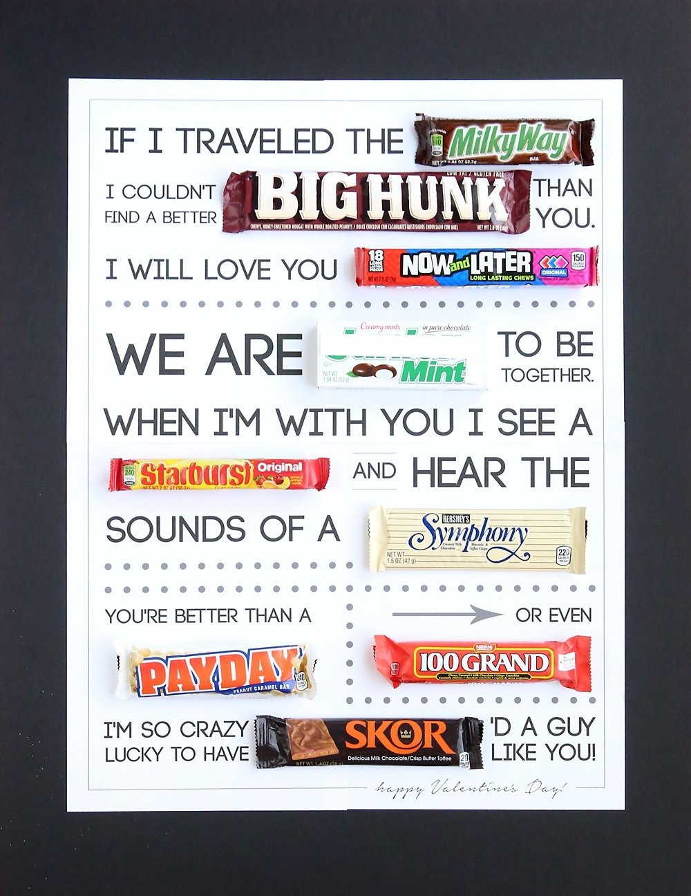 10 Lovely Valentines Day Ideas For Husband free printable valentines day candygram candy poster its