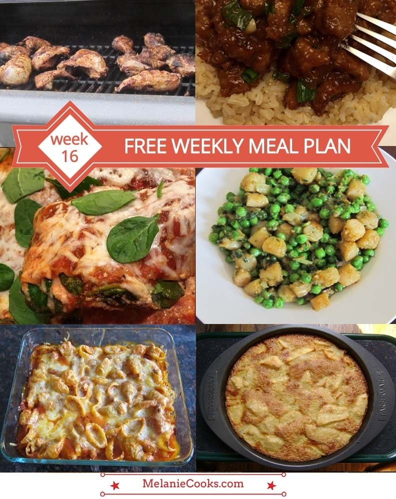 free weekly meal plan – week 16 recipes & dinner ideas – melanie cooks