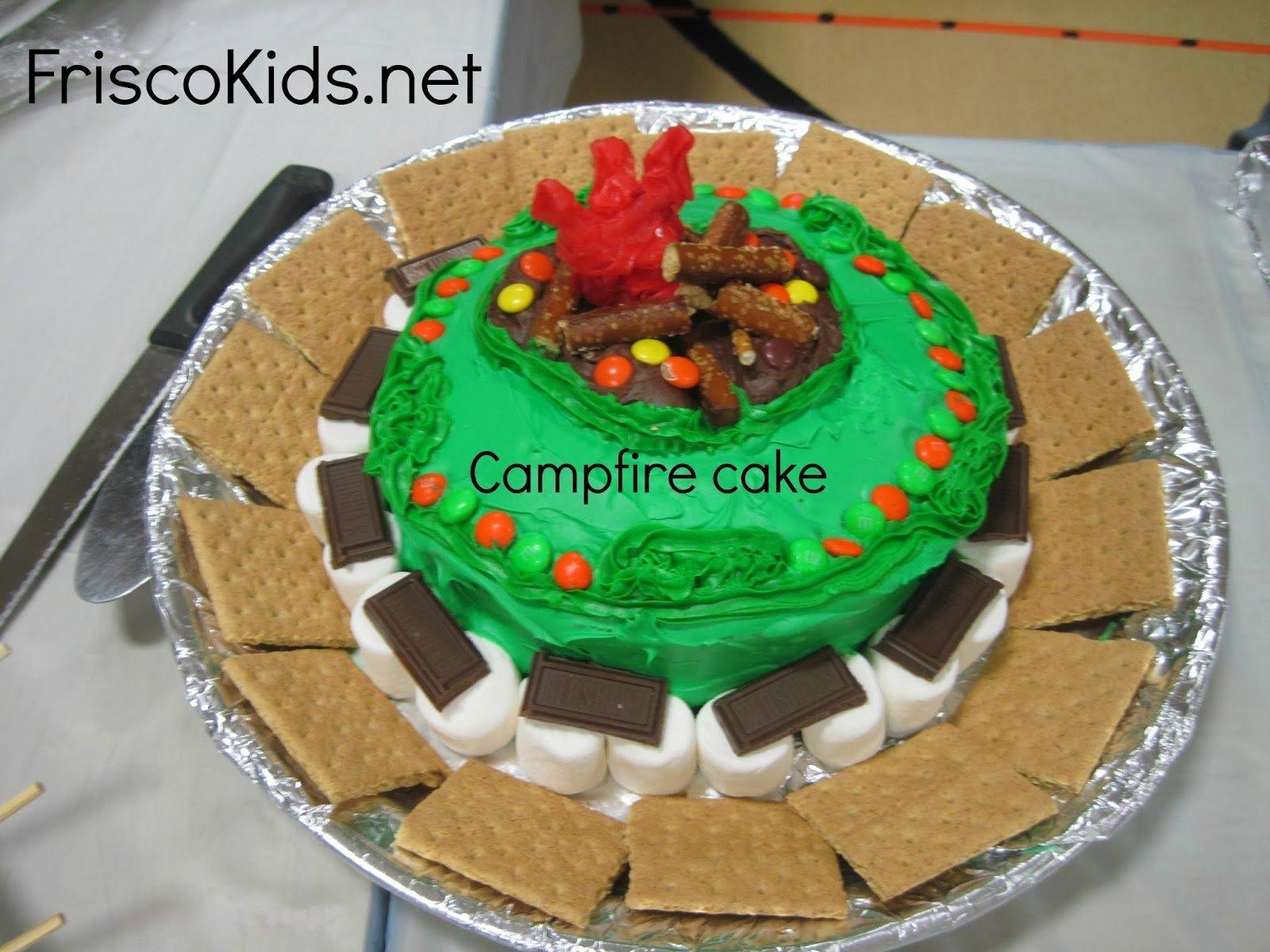 frisco kids: cub scout bake-off cake ideas - campfire cake - http