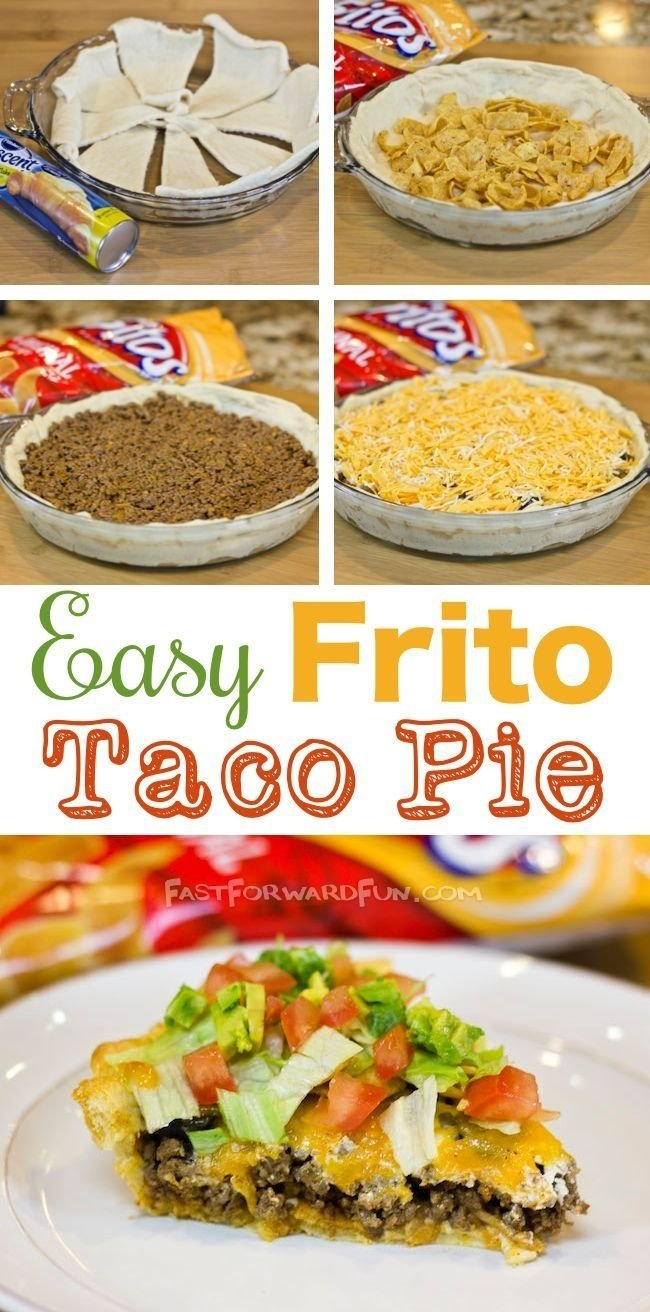 10 Stylish Quick Easy Dinner Ideas For Families frito taco pie with a crescent dough crust taco pie tasty and pies 6 2020