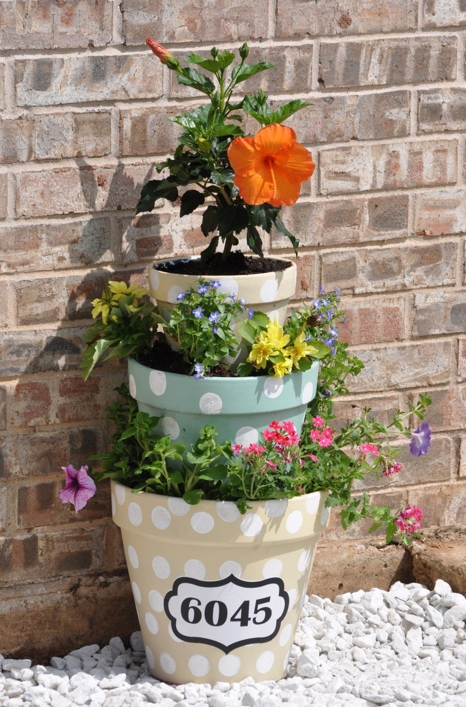 10 Awesome Planter Ideas For Front Porch front porch chic flowers pot design with stacked pots and polka dot 2021