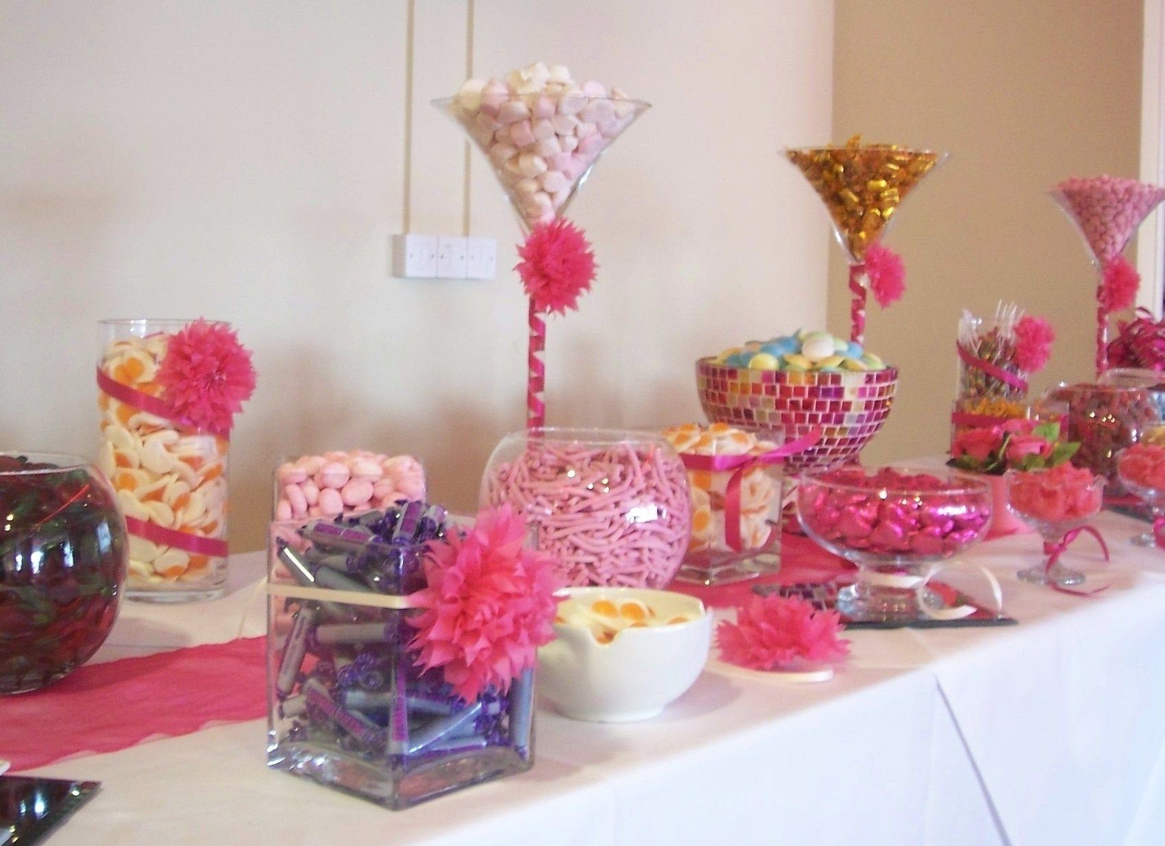 fuchsia pink candy bar at the millennium stadium | pink candy, bar