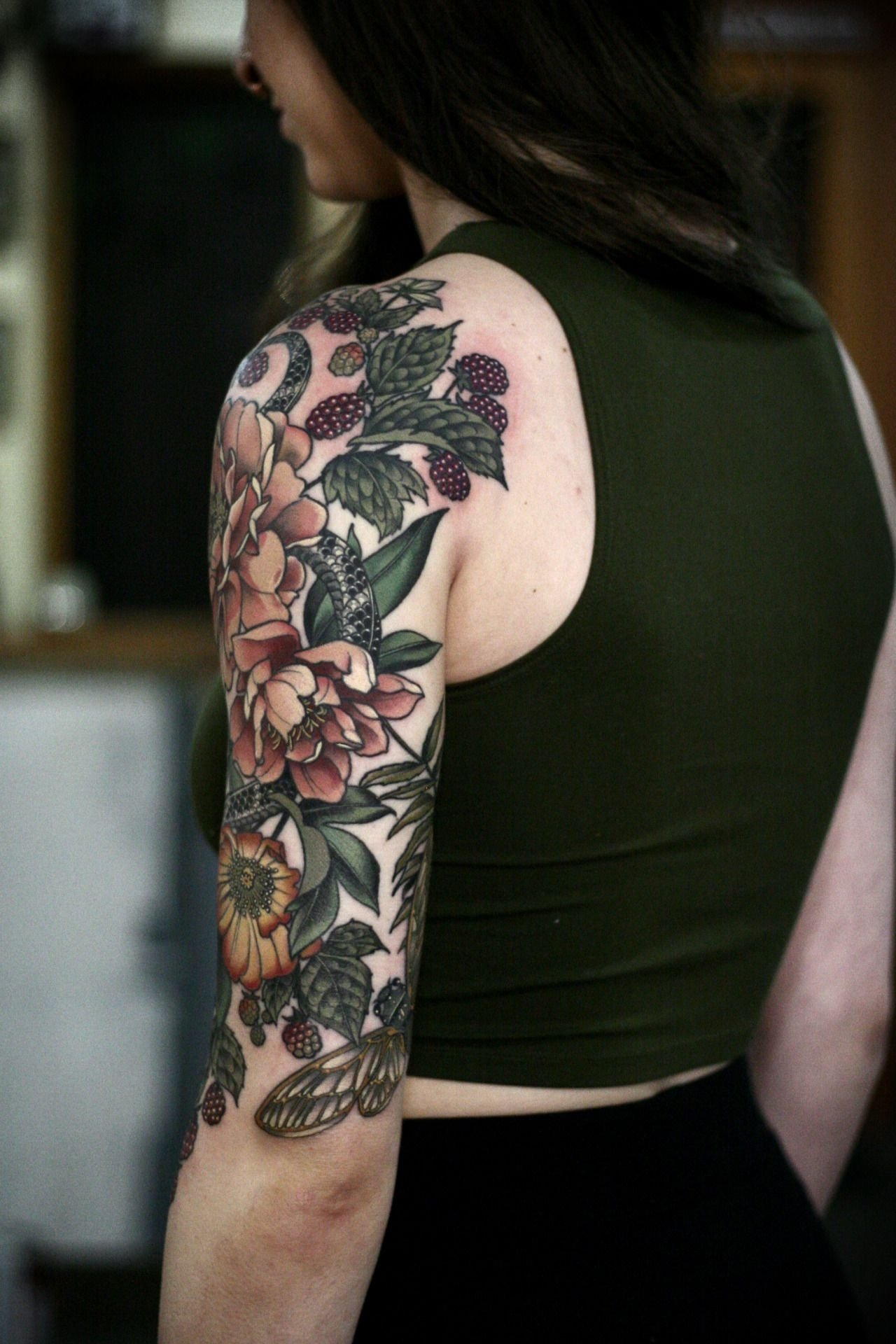 10 Beautiful Back Of Arm Tattoo Ideas garden half sleeve ive been working on since september on makenzie