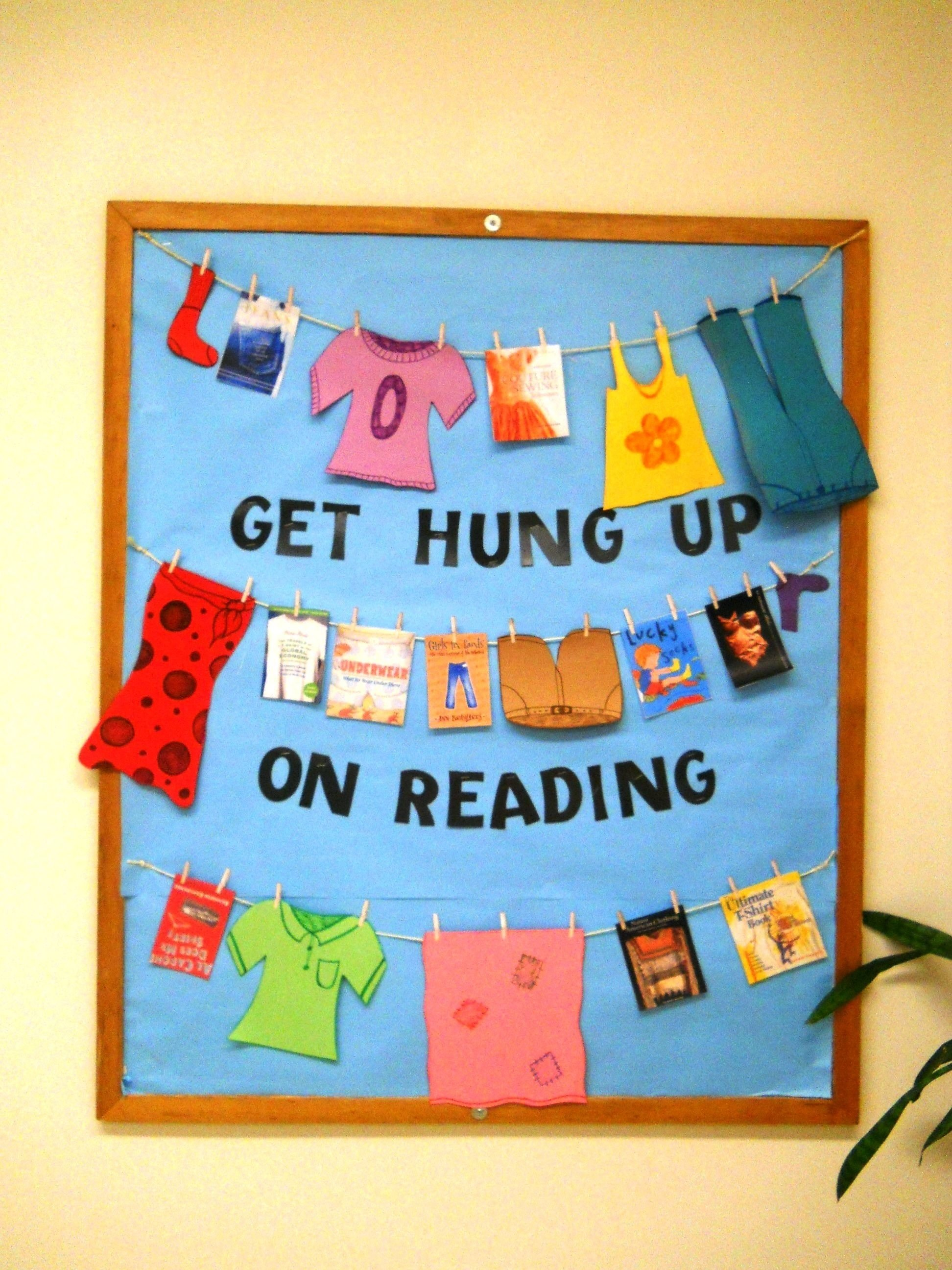 10 Nice Fall Library Bulletin Board Ideas get hung up on reading bulletin board bulletin boards book 2020