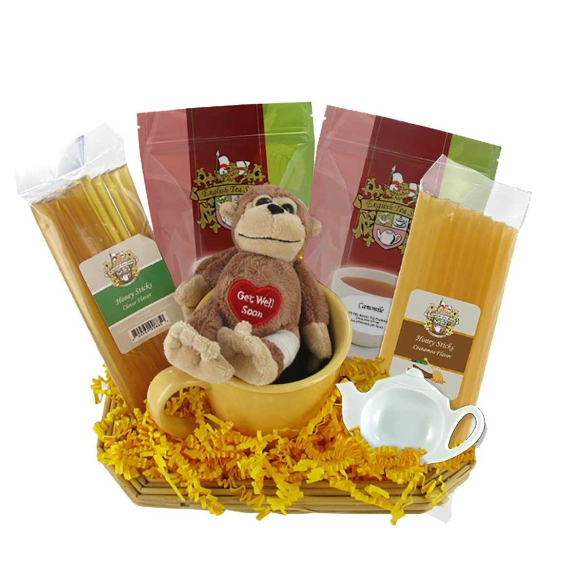get well soon gift basket with stuffed toy