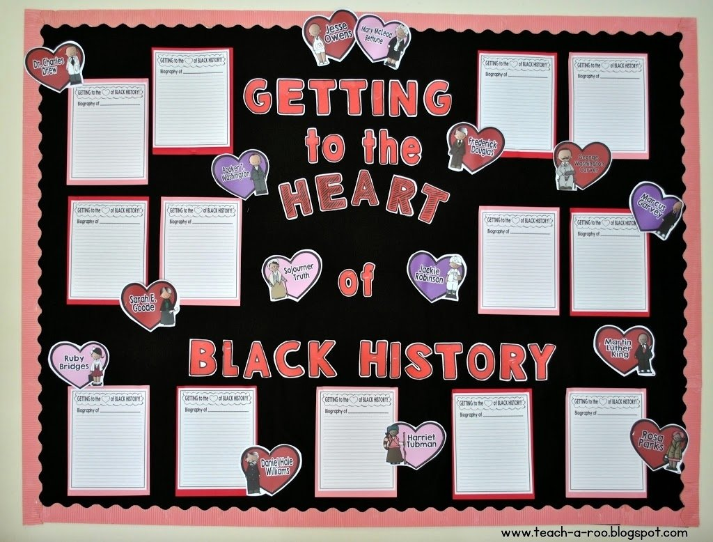 10 Lovely Bulletin Board Ideas For Black History Month getting to the heart of black history month freebie teach a roo 1