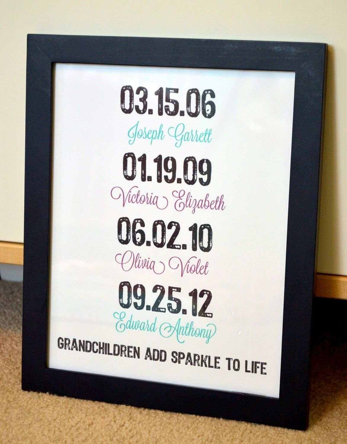 gift for grandparents 11x14 print- important dates art