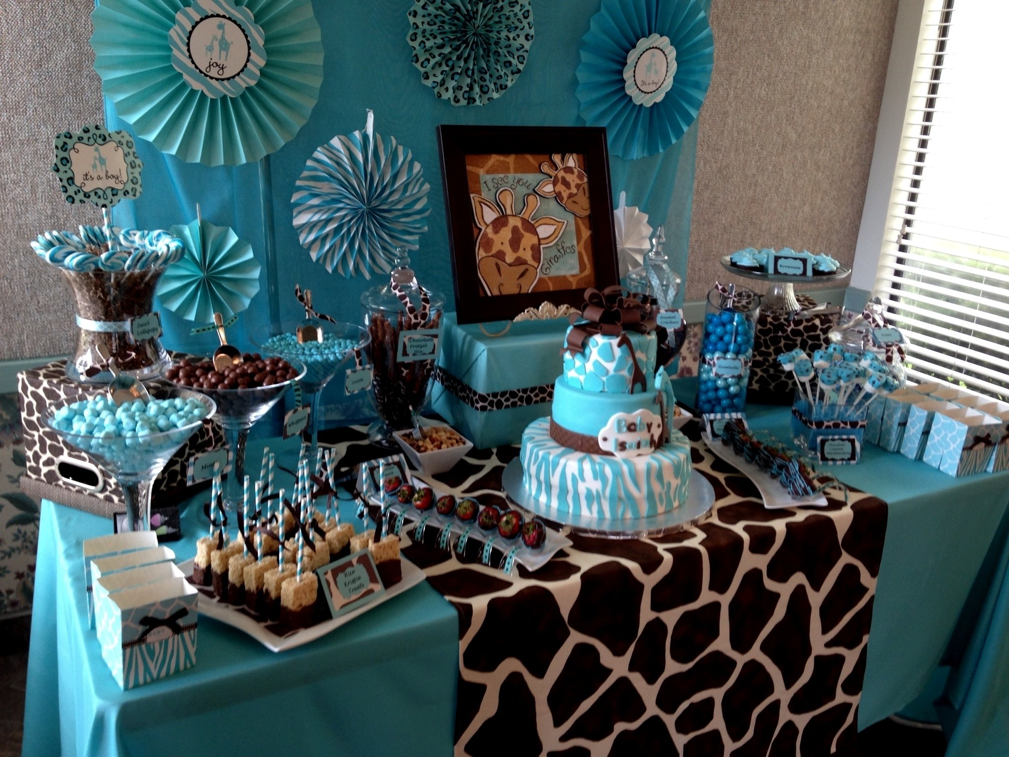10 Fabulous Blue And Brown Baby Shower Ideas giraffe baby shower ideas baby ideas 2020