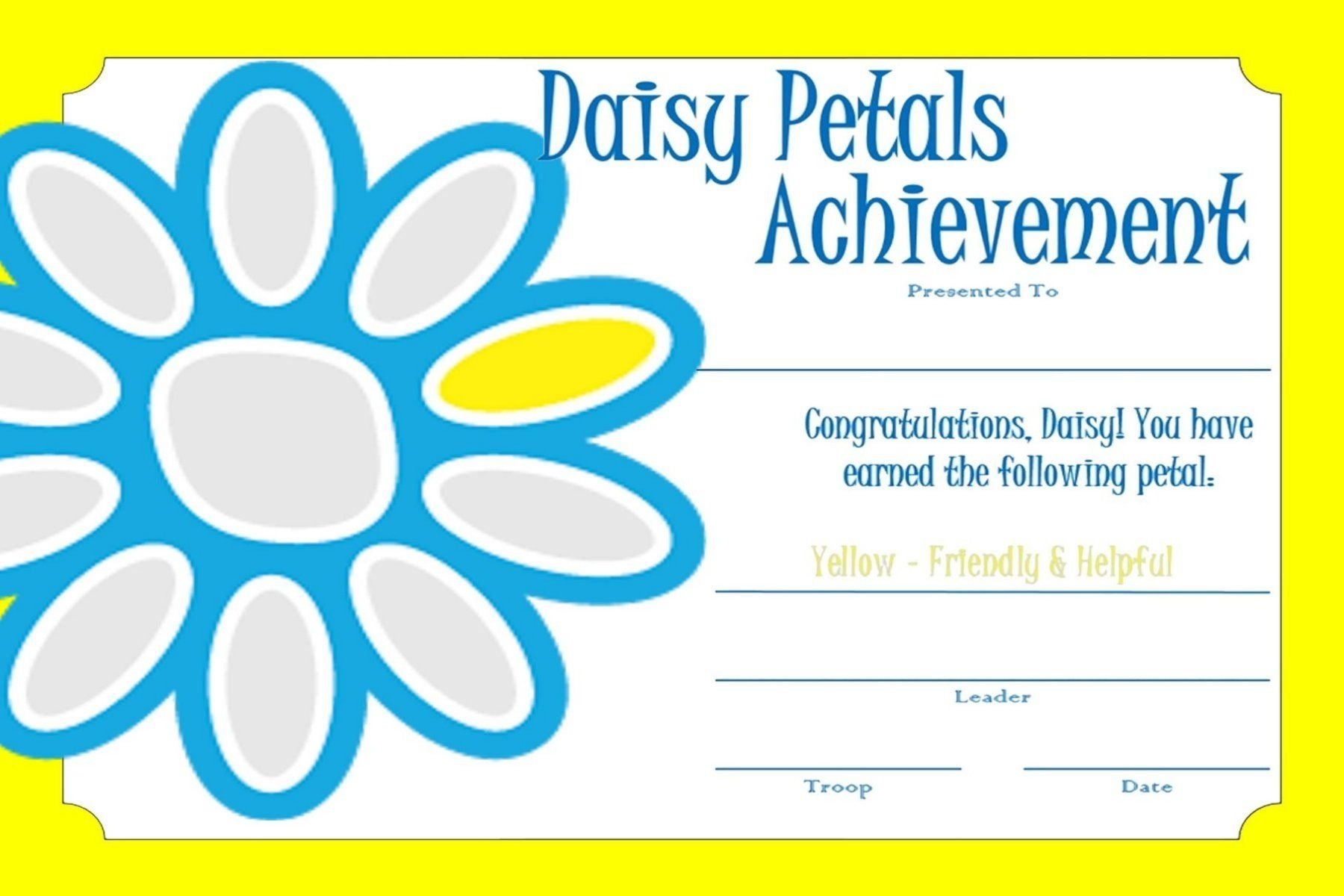 10 Attractive Considerate And Caring Daisy Petal Ideas girl scout daisy certificate sunny petal daisy scouts 1