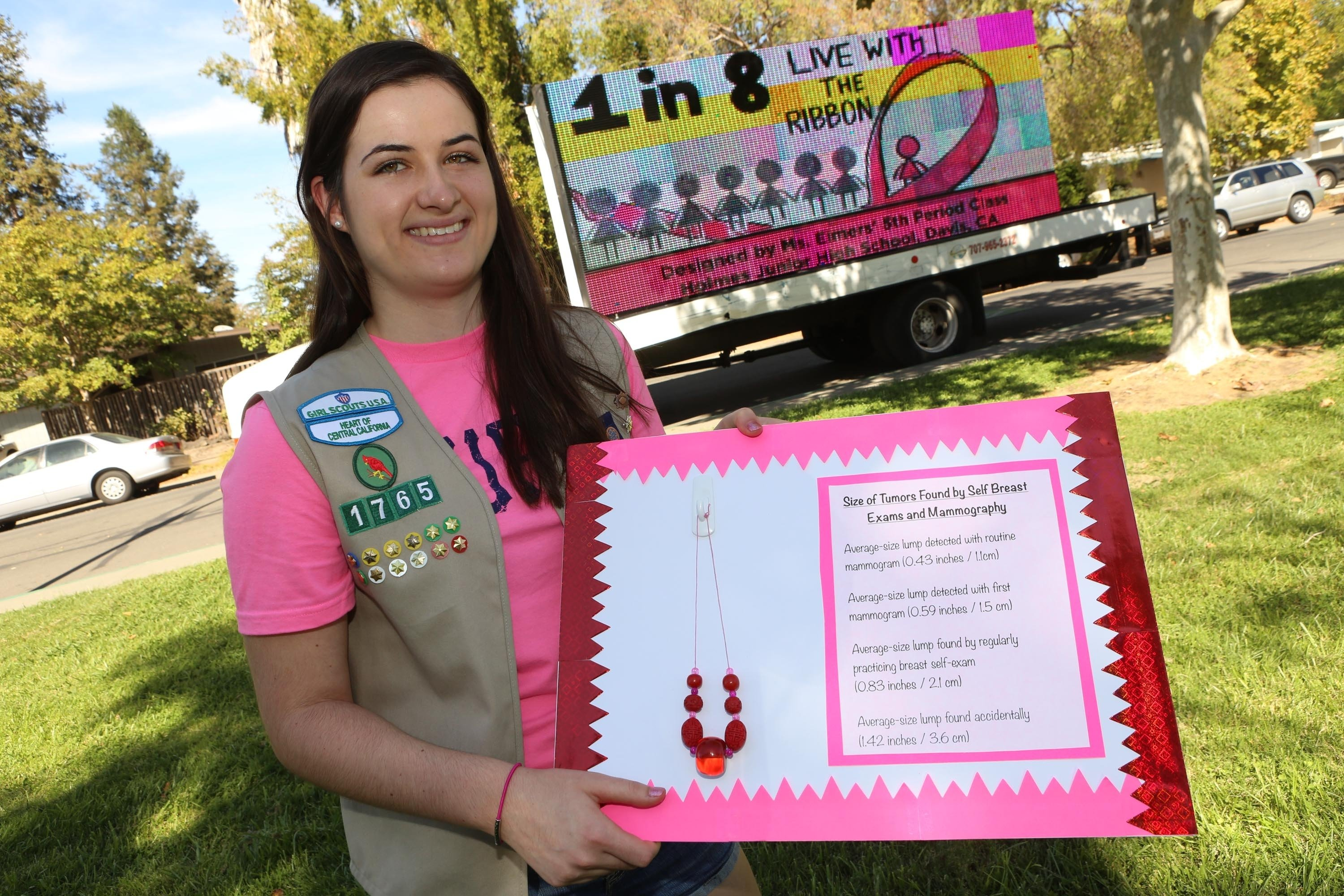 girl scout pushes for breast cancer education