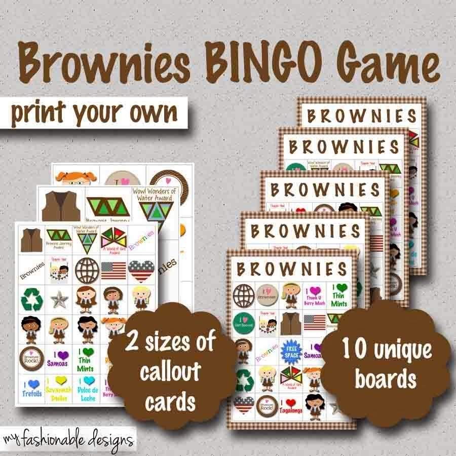 10 Fabulous Girl Scout Brownie Meeting Ideas girl scouts brownies bingo game print your own girl scouts