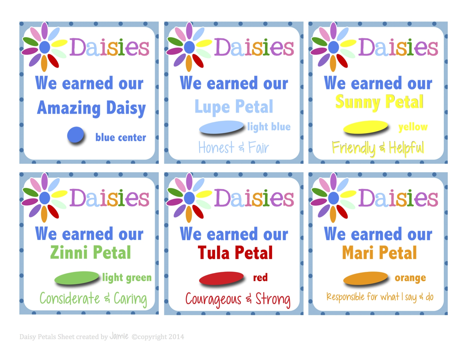 girl scouts: daisy petal cards free printable | girl scouts