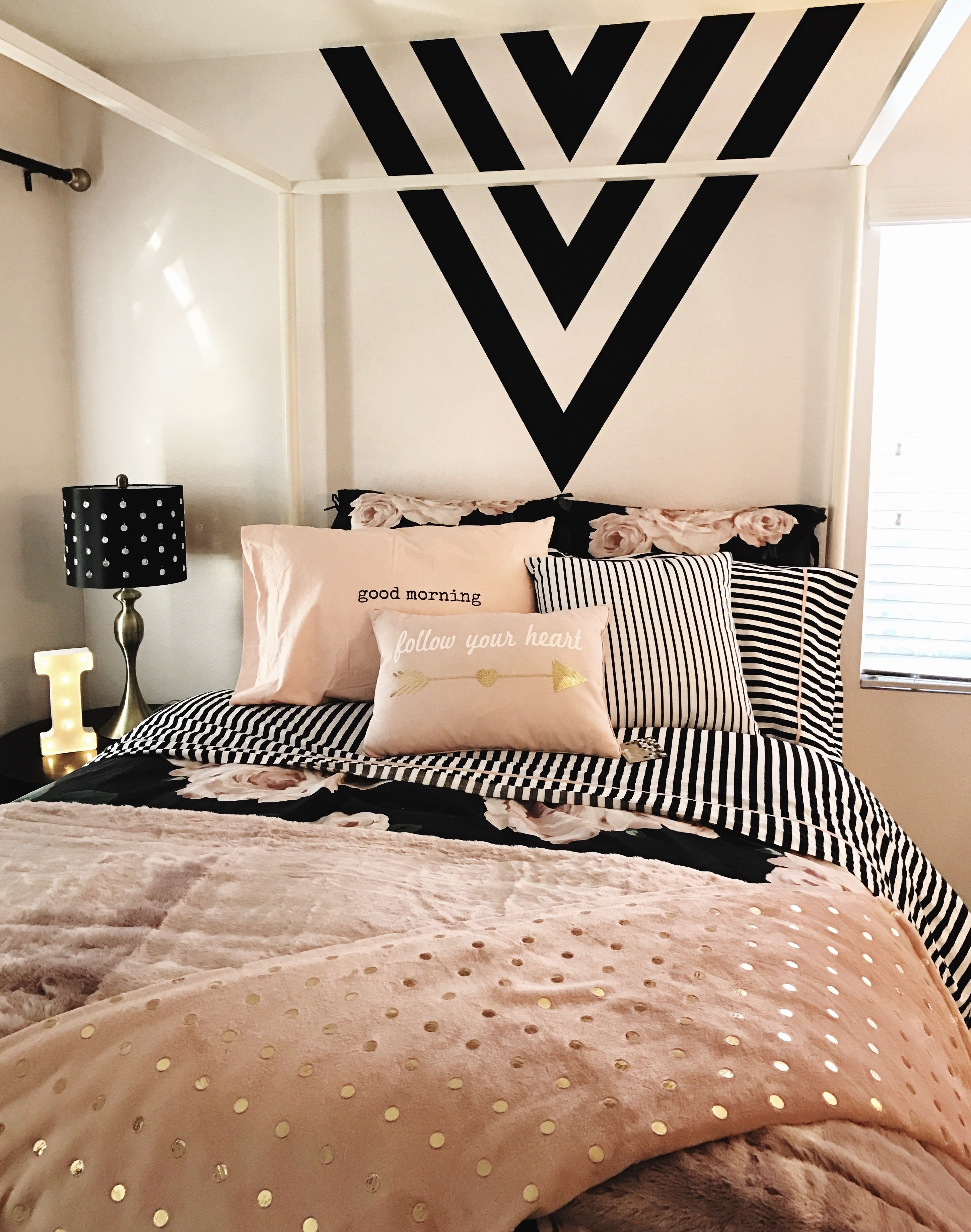 10 Lovable Pink And Black Bedroom Ideas girls room black gold and pink black paint feature wall black 2020