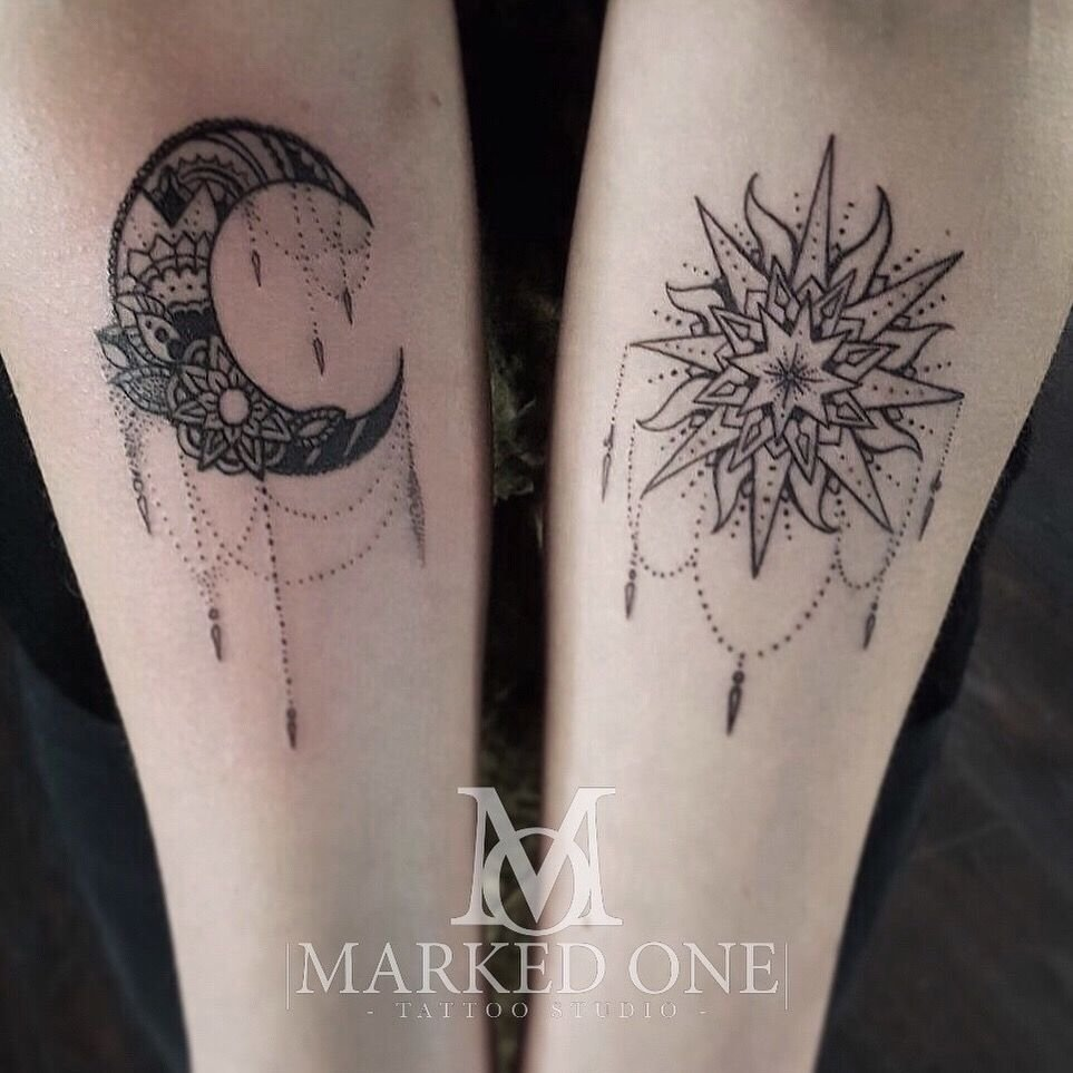 10 Awesome Sun And Moon Tattoo Ideas girly forearm piece matching arm for girly tattoo sun and moon 2020