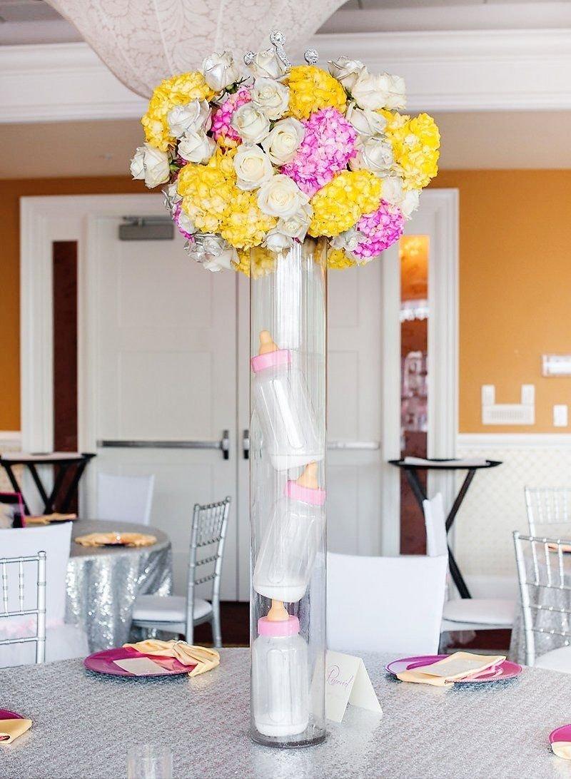 10 Fabulous Baby Shower Flower Centerpiece Ideas glamorous pink tiaras tutus baby shower baby shower
