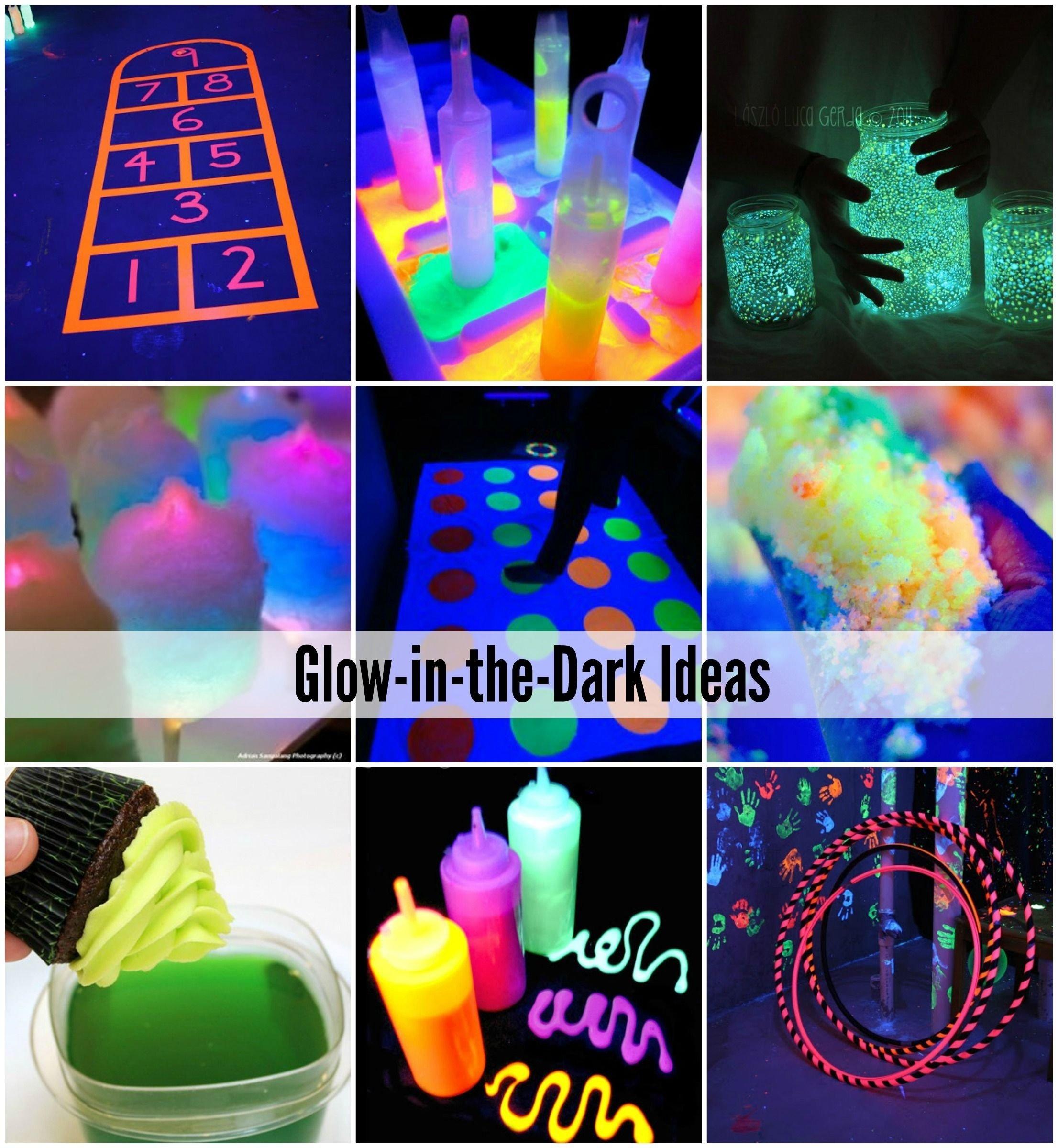glow-in-the-dark games, activities and food | fêtes, activité et fluo