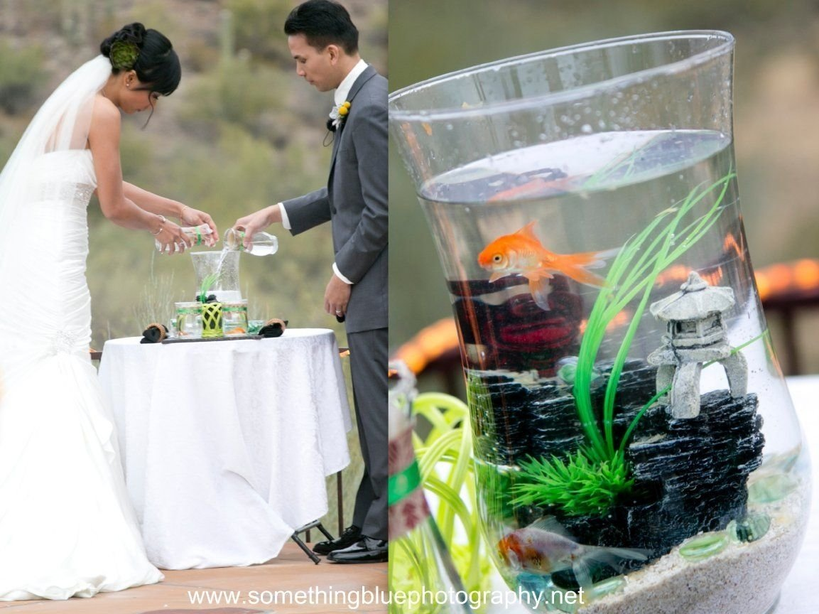 10 Beautiful Unity Ideas For Wedding Ceremony gold fish in vessel instead of sand ceremony unity idea for