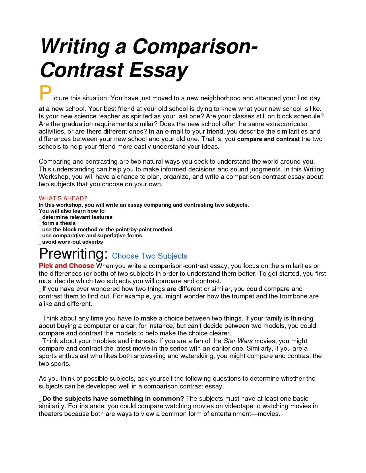 10 Unique Ideas For A Compare And Contrast Essay %name 2021