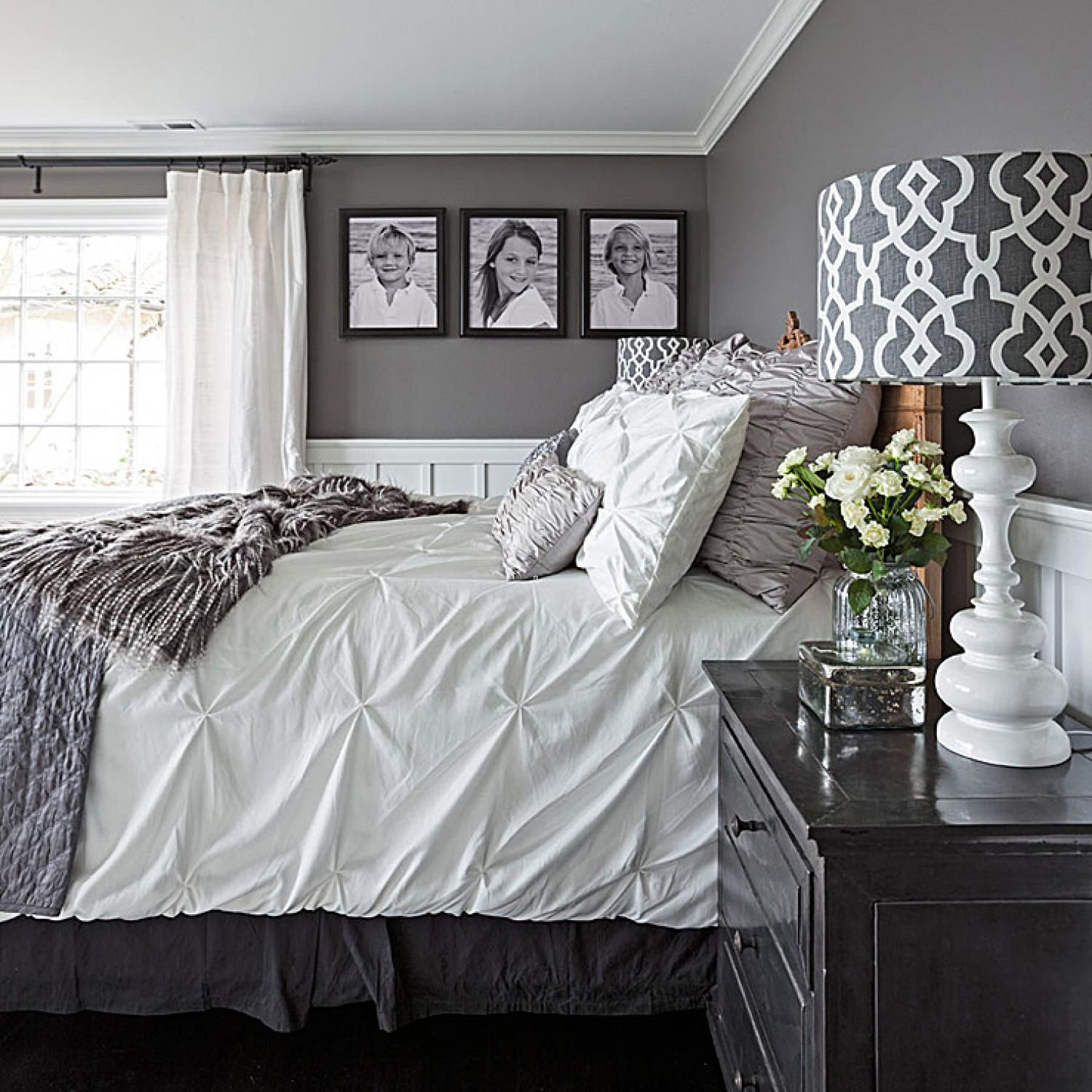 gorgeous gray-and-white bedrooms | bedrooms | bedroom, white bedroom