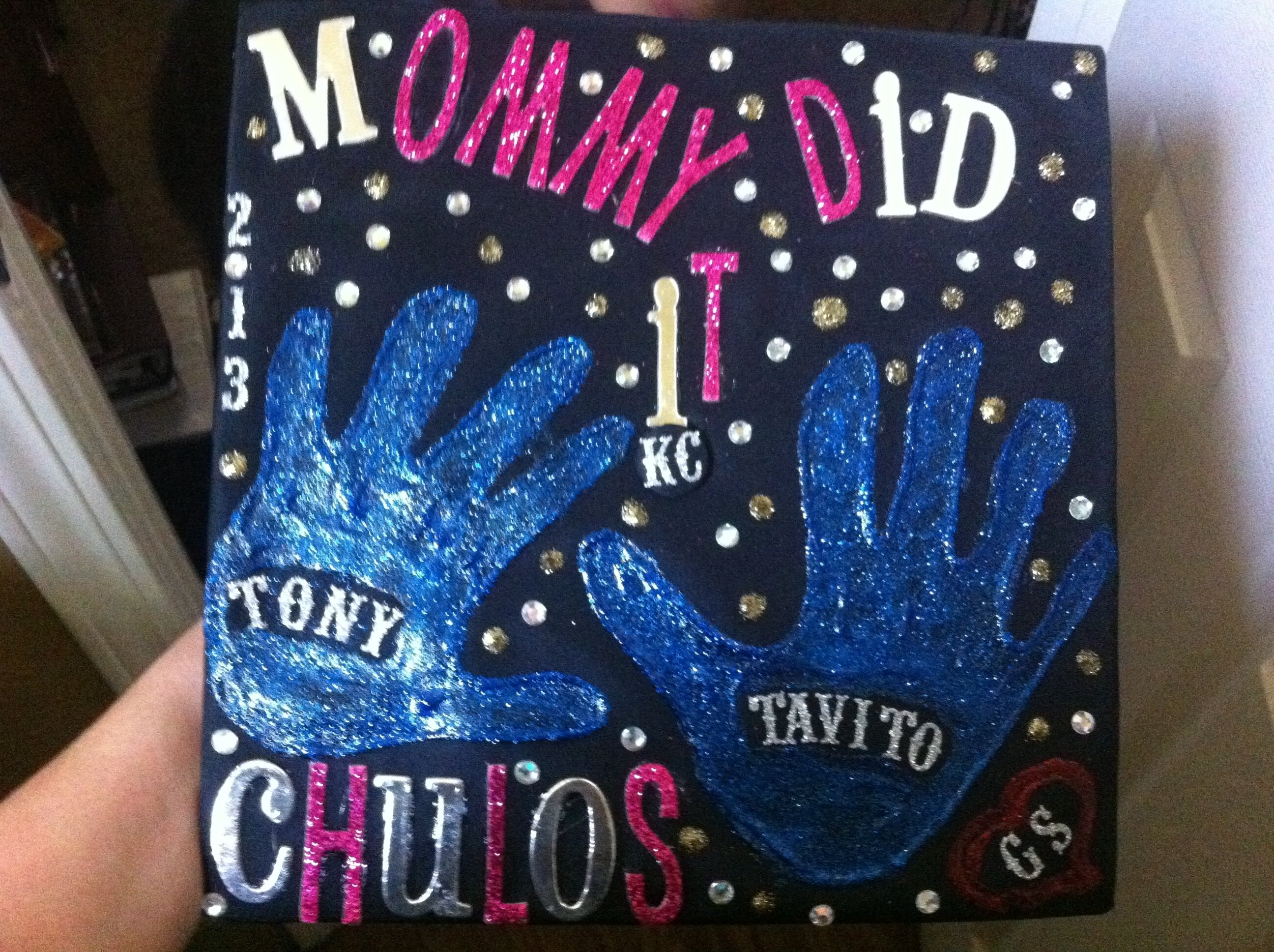 10 Awesome Ideas For Decorating Graduation Caps grad cap decorated with kids handprints decorations pinterest 2021