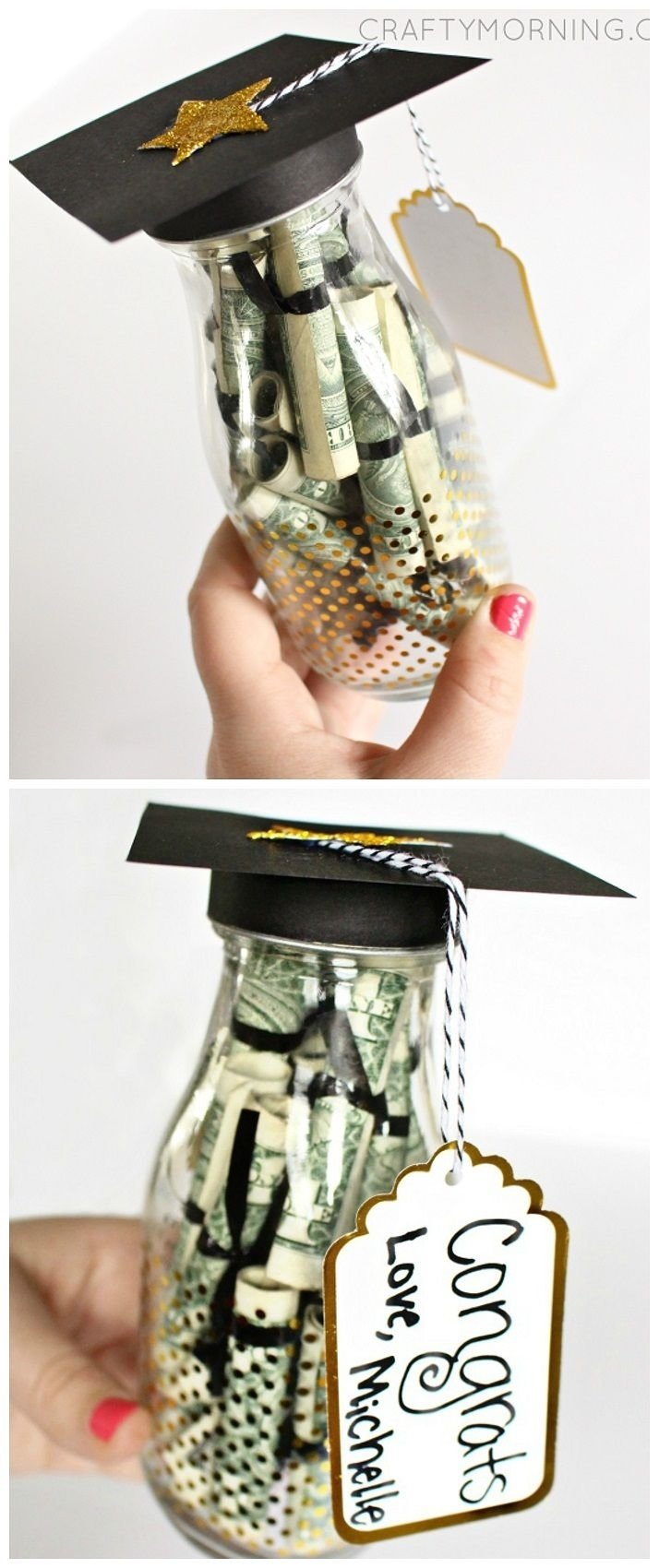 graduation glass bottle gift (dollar bill diplomas) - perfect for