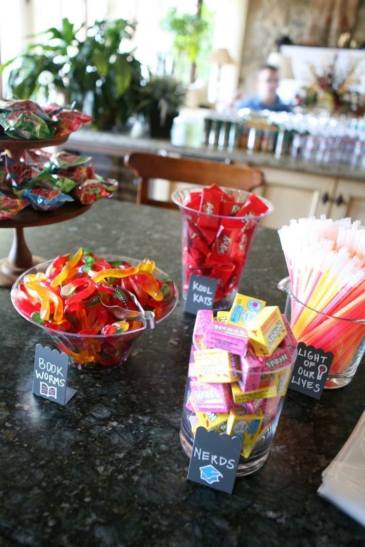 10 Spectacular 8Th Grade Graduation Party Ideas graduation themed candy bar each treat has a different school