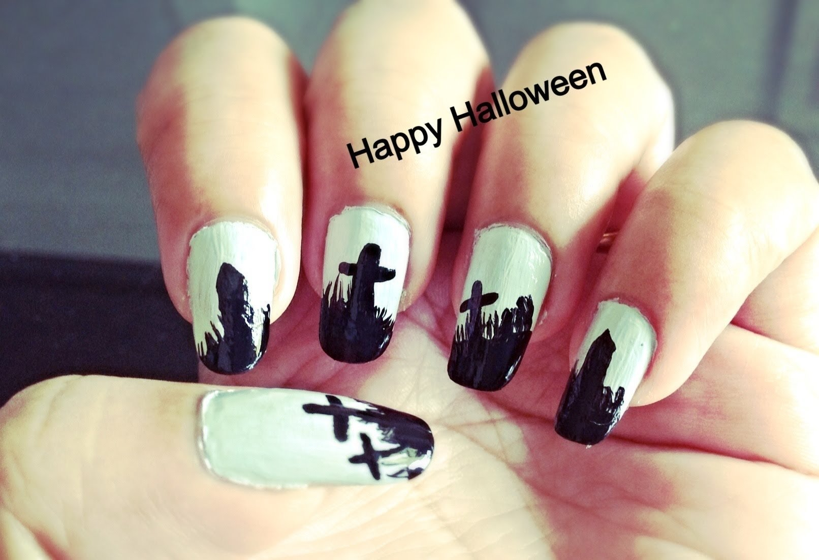 10 Lovable Easy Halloween Nail Art Ideas graveyard design easy halloween nail art youtube 2020