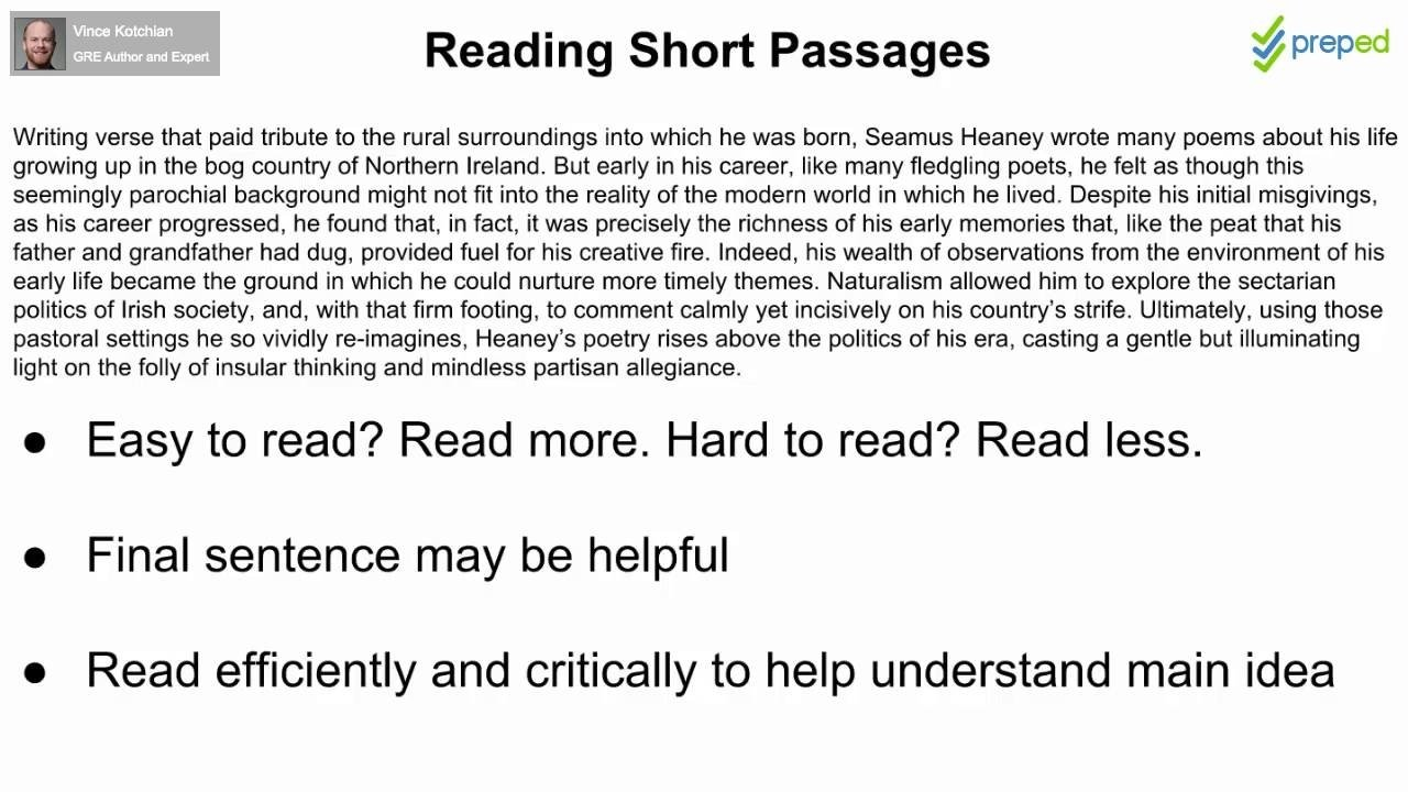 10 Pretty Short Passages For Main Idea gre reading comprehension 04 reading short passages youtube 2021