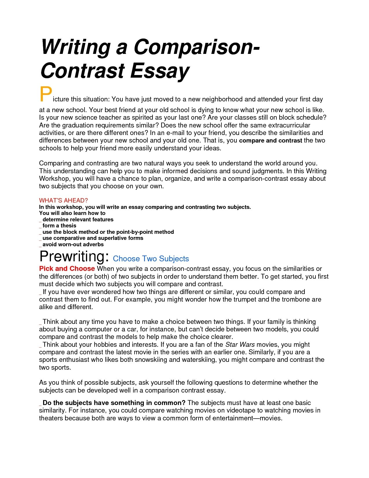 10 Amazing Ideas For Compare And Contrast Essays great compare and contrast essay topics to choose from mgicorp ca 2020