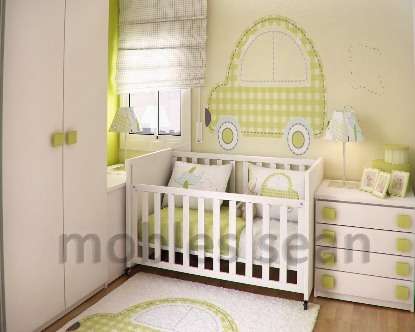 10 Cute Nursery Ideas For Small Spaces green white baby nursery room decobizz 2020
