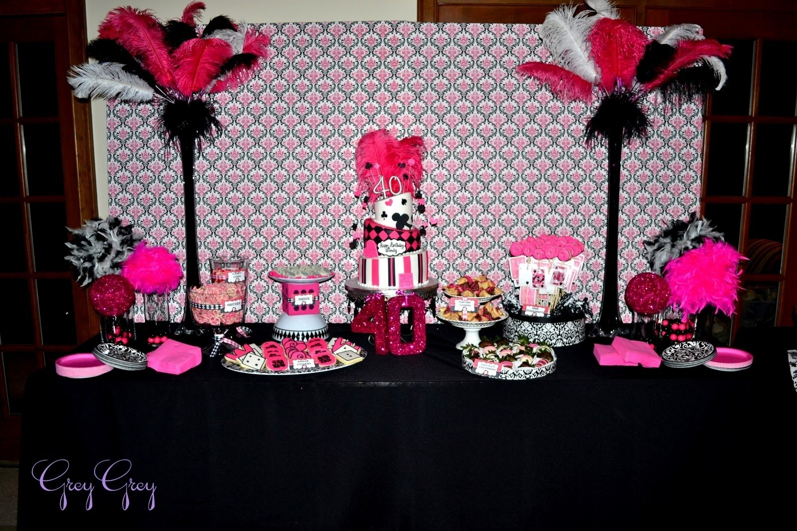 10 Lovely Ideas For 40Th Birthday Party Female greygrey designs my parties hot pink glamorous casino 40th birthday 2020
