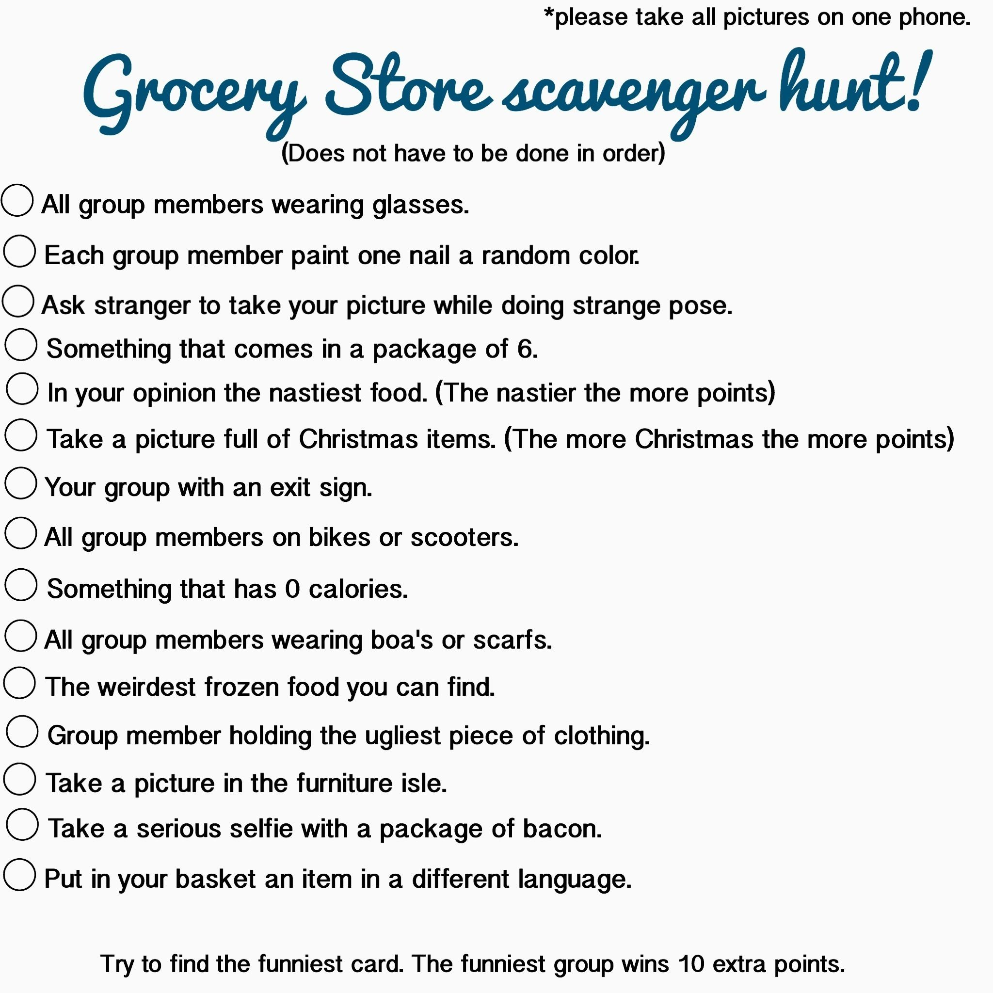 10 Perfect Funny College Scavenger Hunt Ideas grocery store scavenger hunt could be done at walmart kroger 2020
