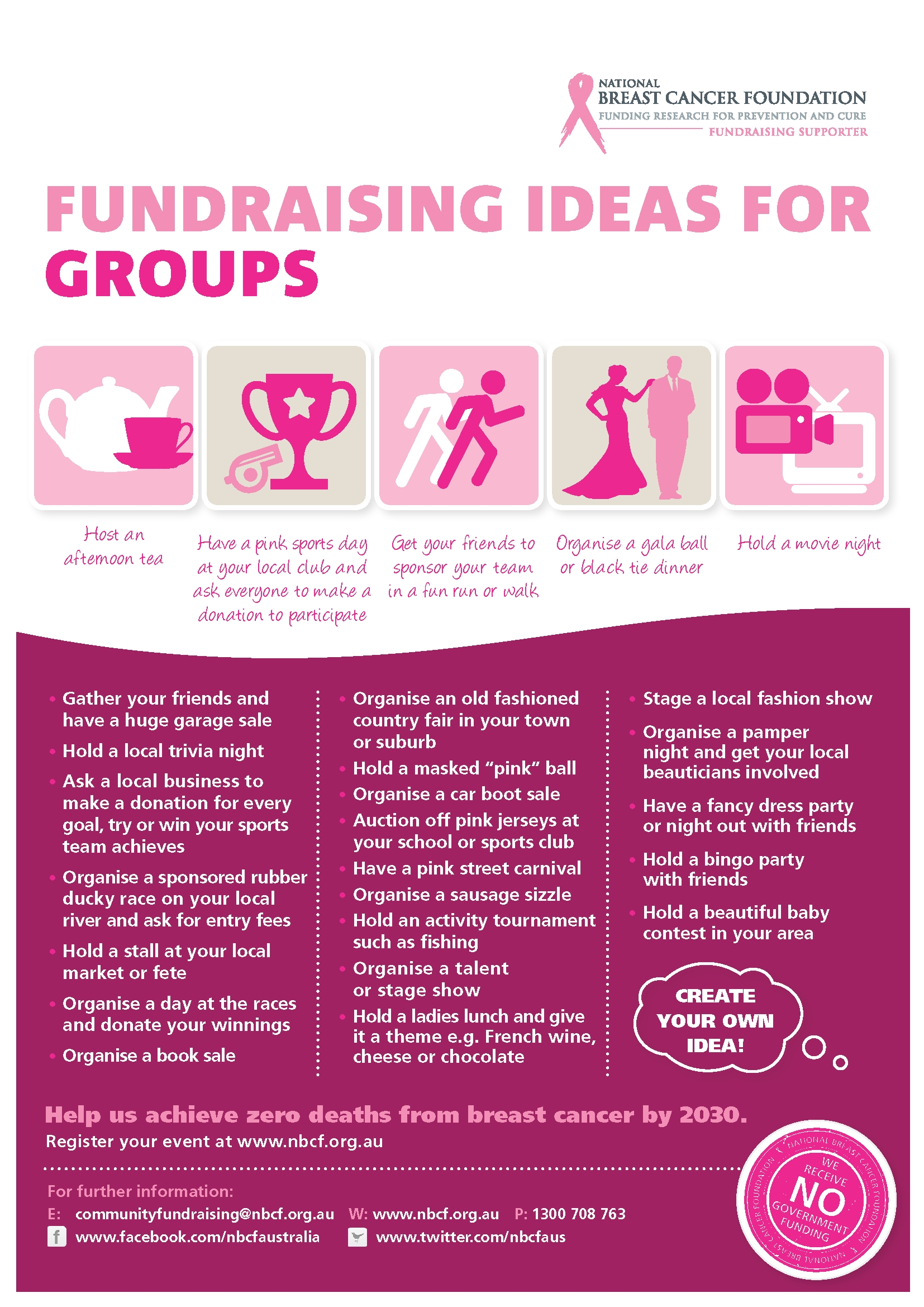 group fundraising ideas via the national breast cancer foundation