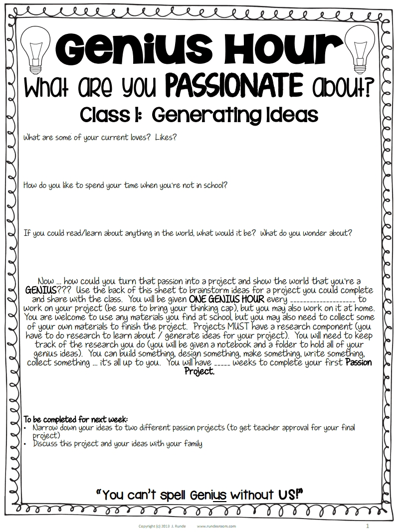 10 Fashionable Service Project Ideas For Highschool Students guiding questions and board letters genius hour passion projects 1 2020