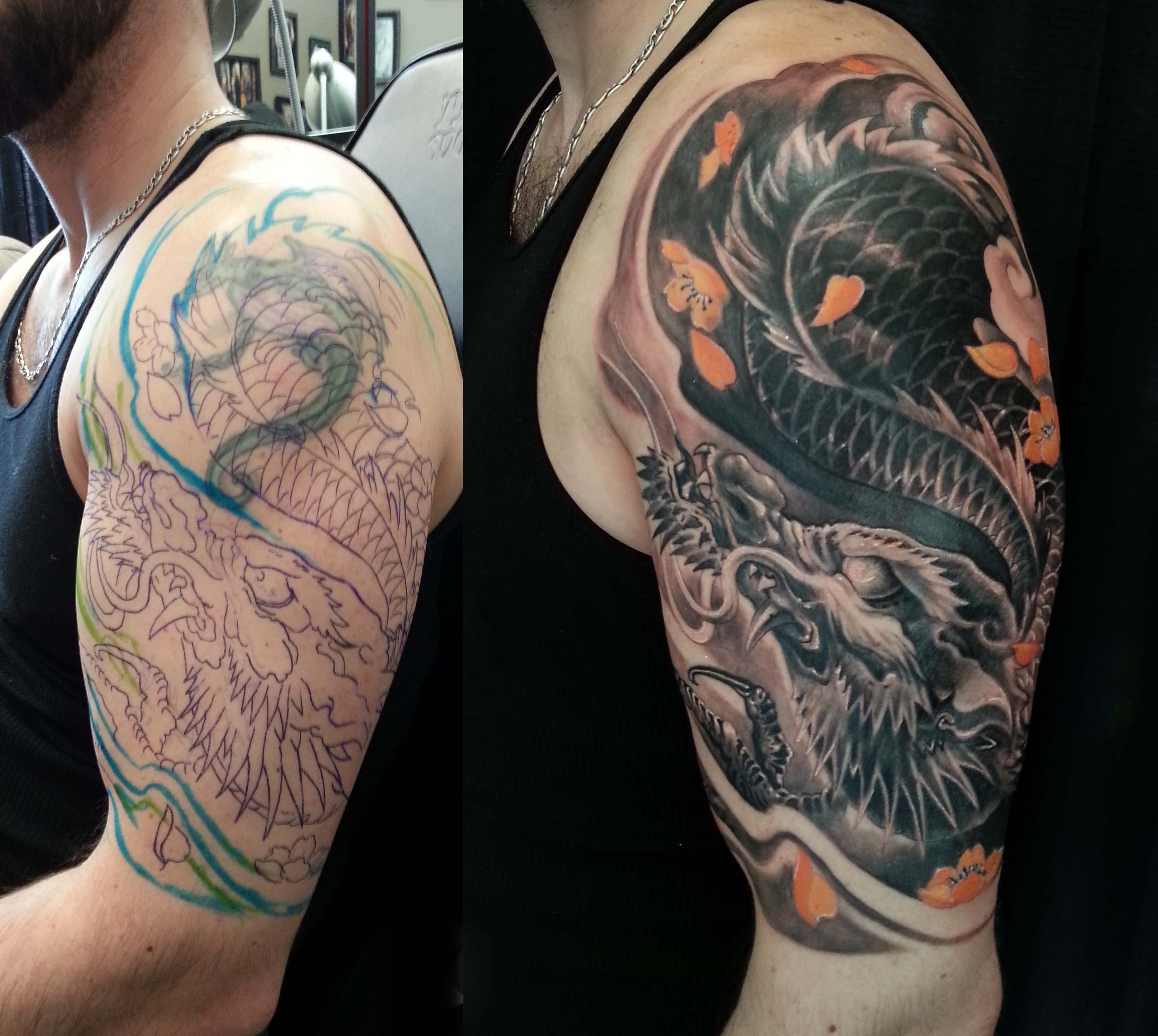 10 Stylish Large Tattoo Cover Up Ideas half sleeve black and grey colour dragon cover up tattoo 3648 2 2020