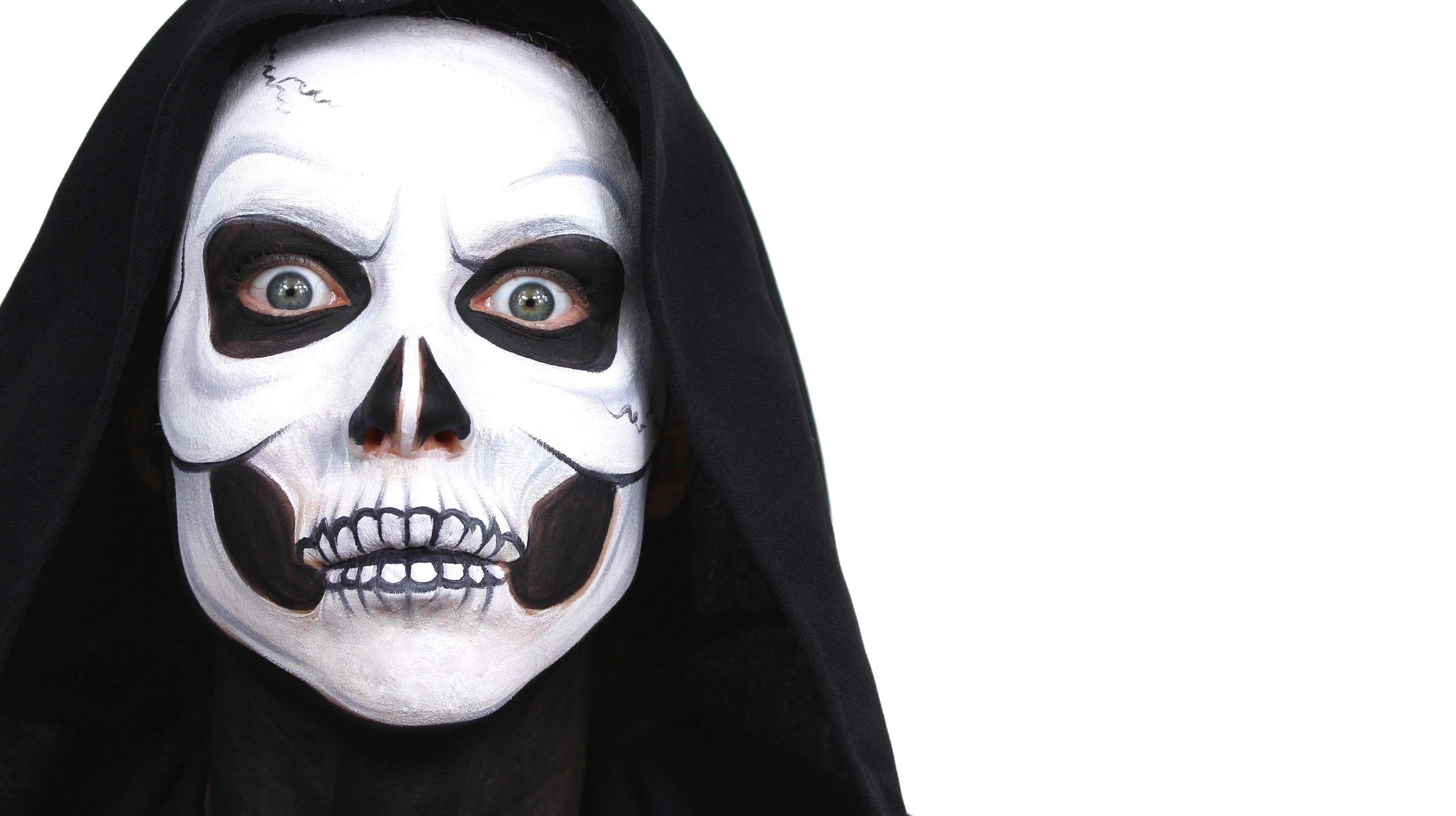 10 Wonderful Black And White Face Paint Ideas For Halloween halloween advanced skull face paint tutorial snazaroo youtube 2020