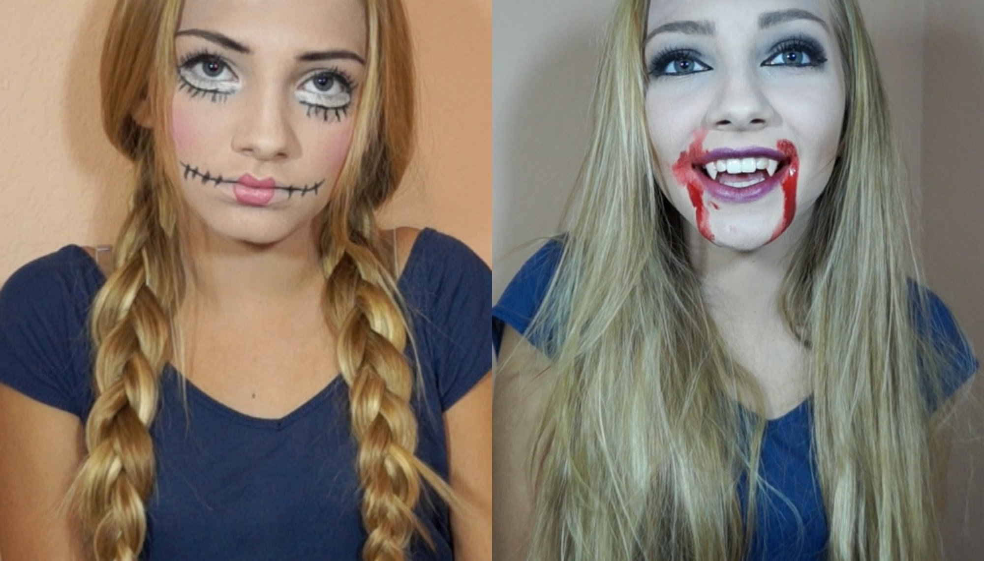 halloween costume ideas: creepy doll & vampire makeup and hair