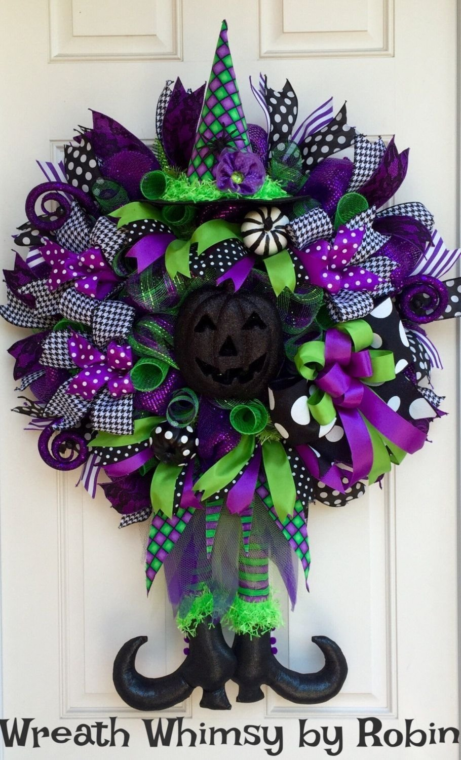 halloween lime, purple & black deco mesh witch wreath, fall wreath