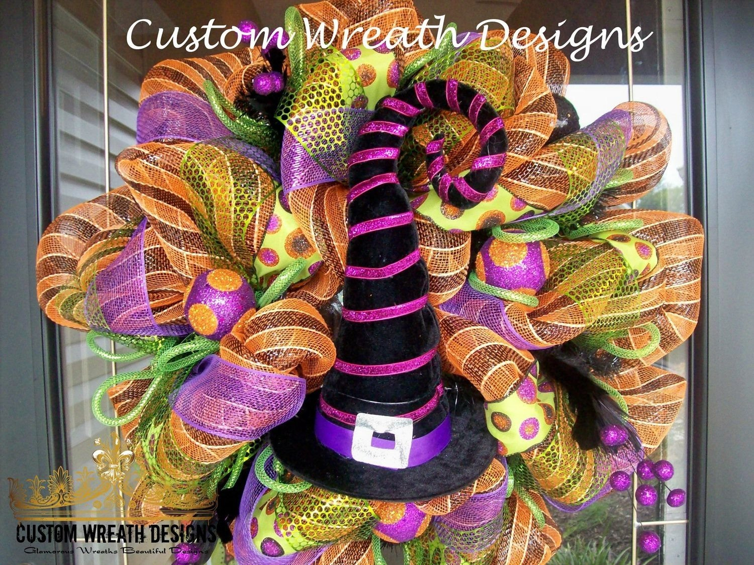 10 Most Recommended Deco Mesh Halloween Wreath Ideas halloween witch hat deco mesh wreath wreaths witches and 2021